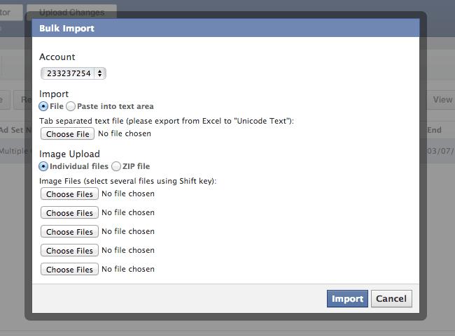 Importación Masiva en Power Editor de Facebook