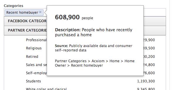 Recent Homeowner Facebook Partner Category