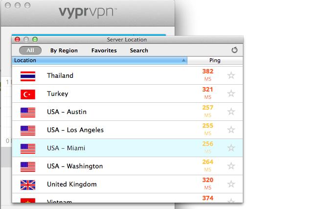 Server Location Screen