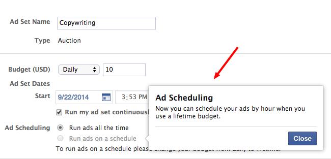 Facebook Ads Tips - Diálogo de Programación de Anuncios en Facebook