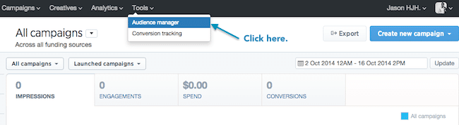 Tailored Audience con tus propios datos - Haz clic en Audience Manager