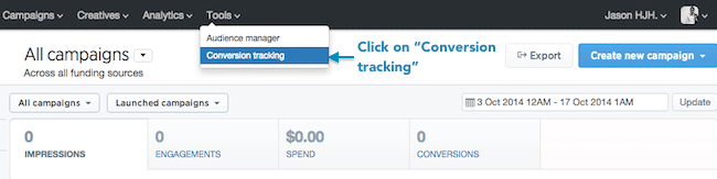 Tailored Audience Website Visitors - Haz clic en Conversion Tracking