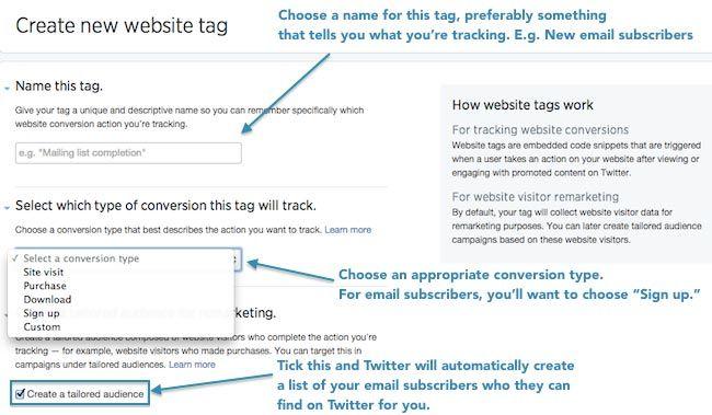 Tailored Audience Website Visitors - Configuración