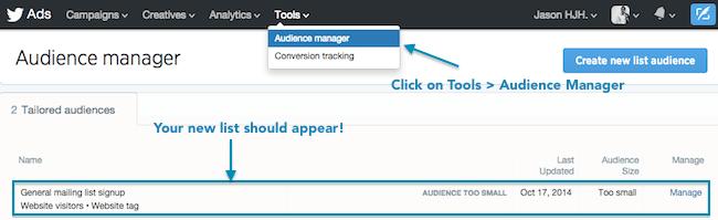 Tailored Audiences Website visitors - Verifica la Configuración