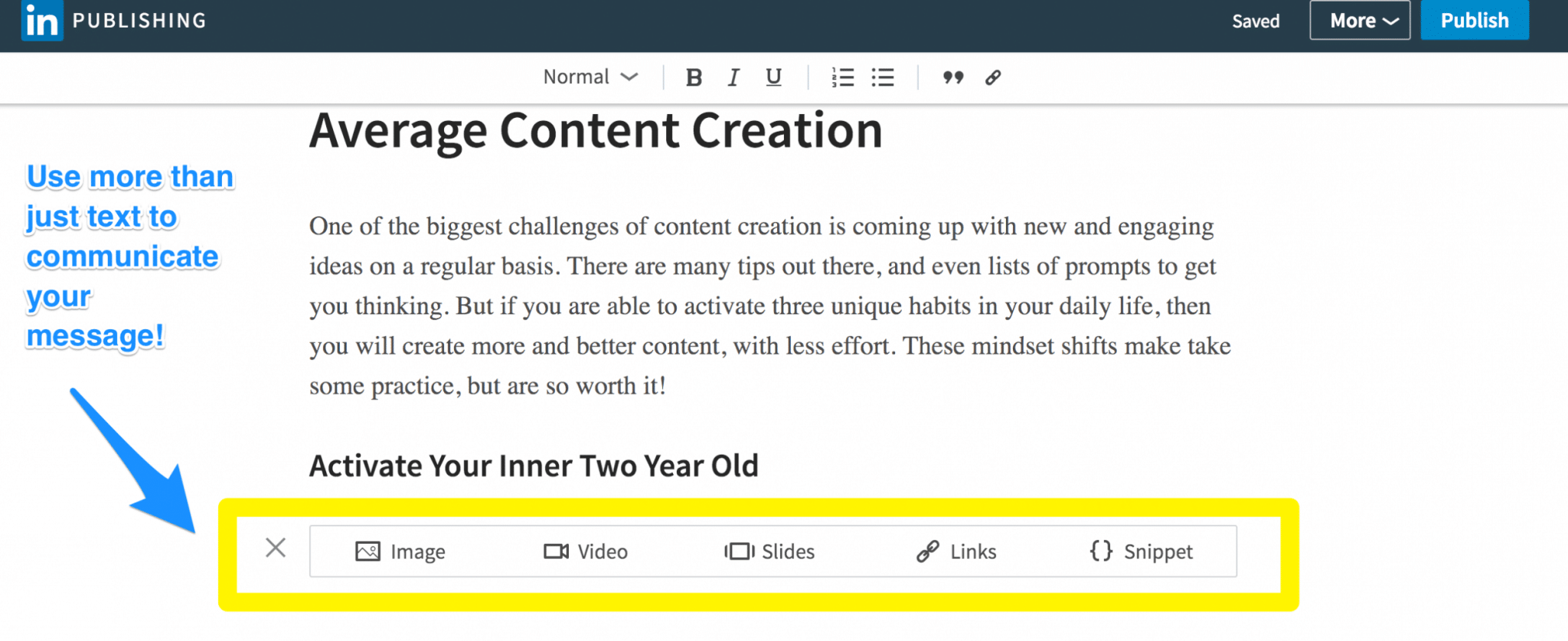 Add videos and other multimedia in LinkedIn Publishing