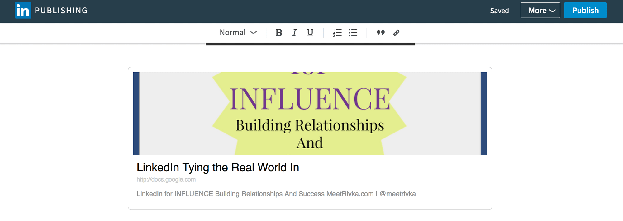 Slides display on LinkedIn Publishing