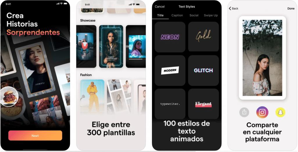 pantallas de iPhone de muestra de la aplicación Mojo