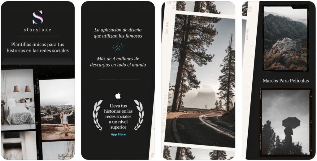 pantallas de iPhone de muestra del funcionamiento de Storyluxe