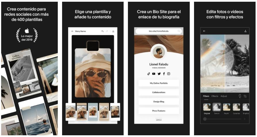 pantallas de iPhone mostrando las diferentes funciones de Unfold