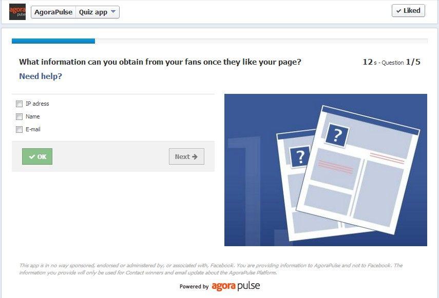 Si vous êtes en charge d'un projet B2B Facebook Marketing, vous devriez penser à une application de Quiz pour challenger votre audience sur ses connaissances réelles du Marketing Facebook : bien plus intéressant qu'un simple tirage au sort !