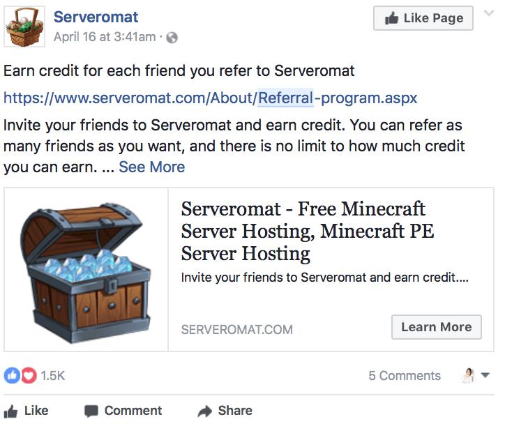 9. post facebook offre de parrainage