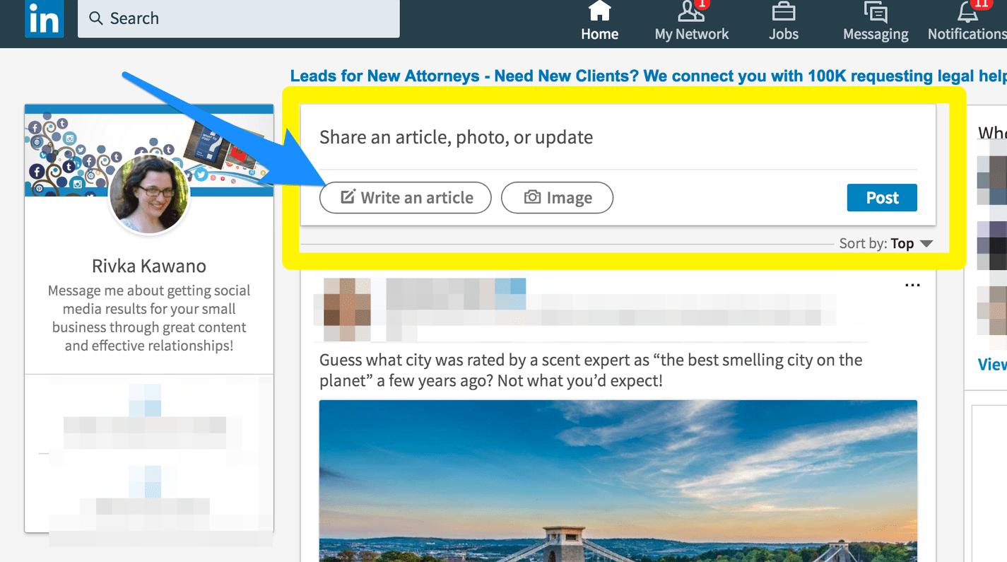 créer un article dans LinkedIn