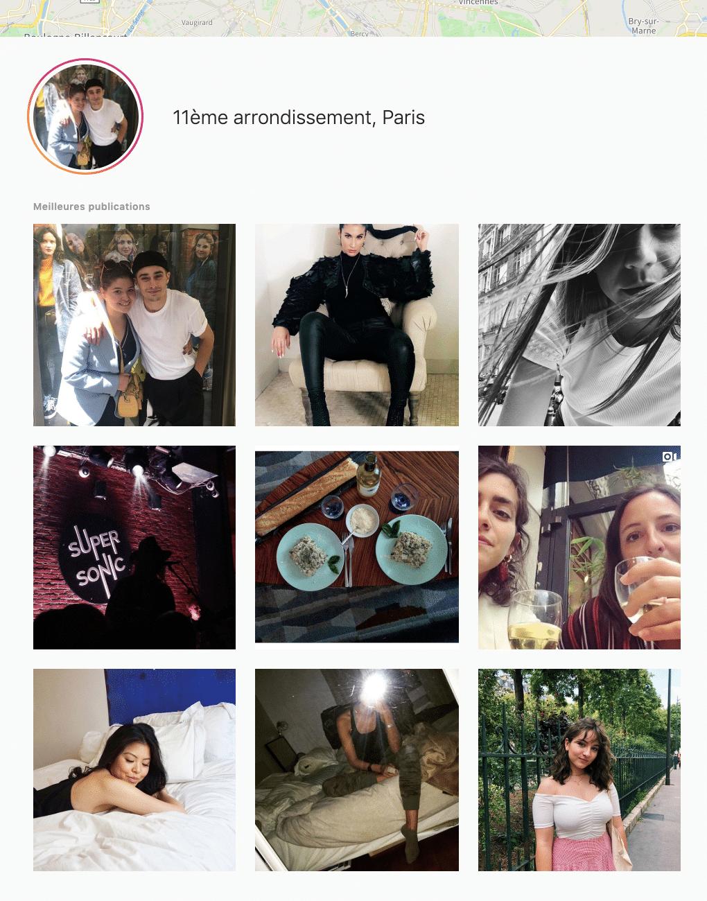 recherche lieu instagram
