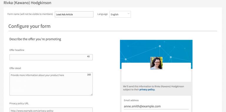 création d'un formulaire Lead Gen sur LinkedIn