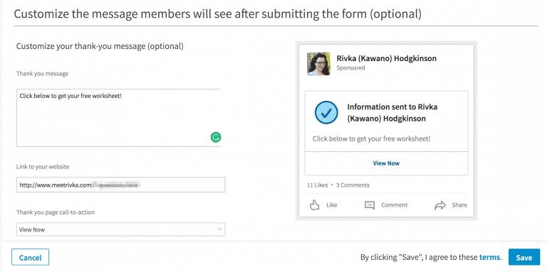 page de remerciement LinkedIn Lead Gen Forms