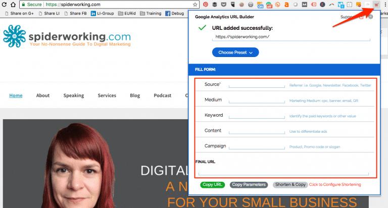 L'extension Google Analytics URL Builder vous aide à créer rapidement des liens de tracking.