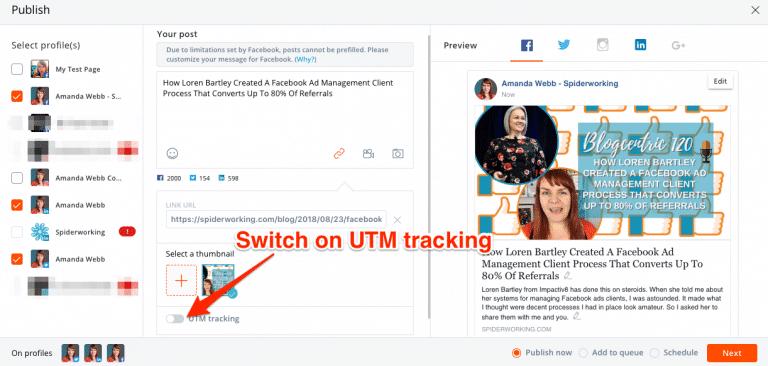 Activer 'UTM tracking' lorsque vous composez votre message dans AgoraPulse