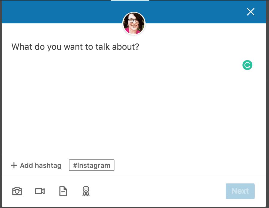 création d'une publication sur LinkedIn