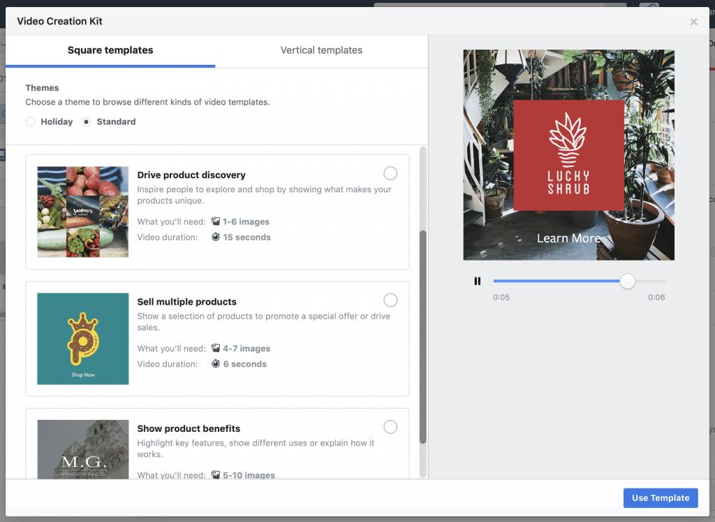 modèles video Facebook