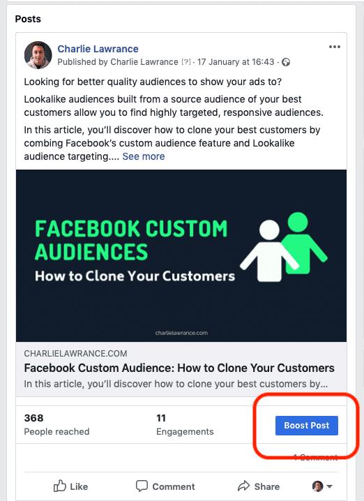 facebook ads boosting