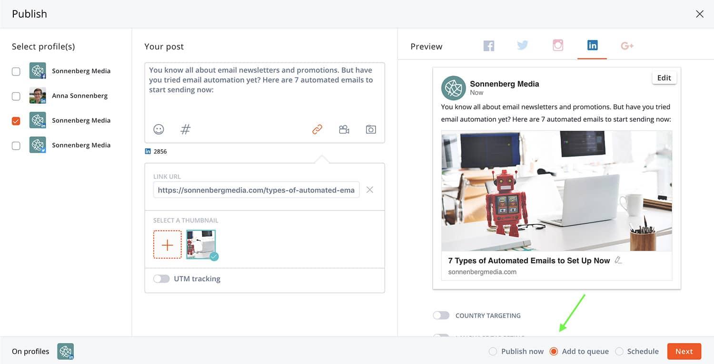 mettre un post LinkedIn dans la file d'attente