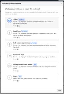 Aperçu des différents types d'engagement sur le Business Manager de Facebook