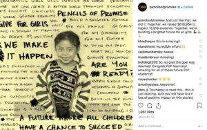 exemple de l'organisme Pencils of Promise sur Instagram