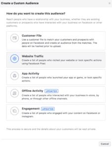 création d'une audience personnalisée sur Facebook