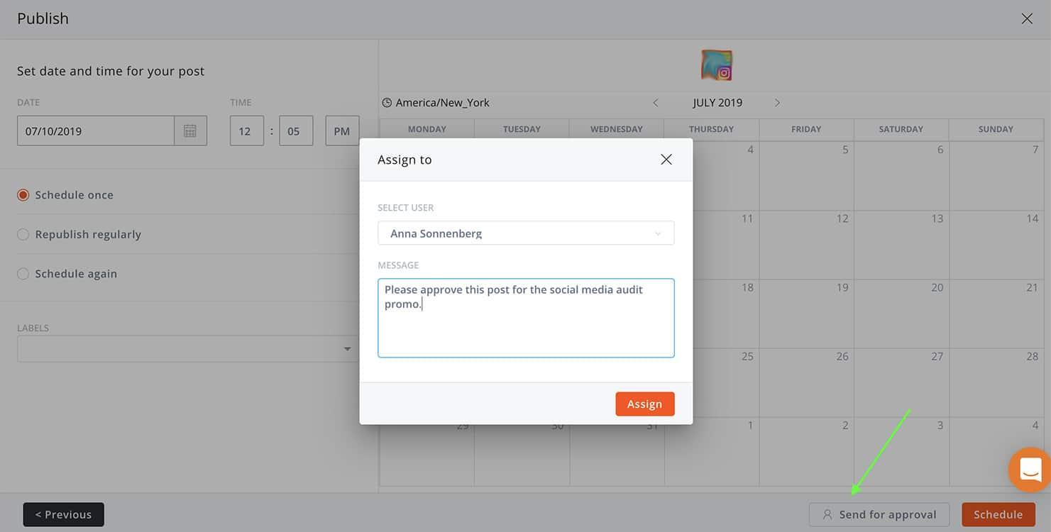 aperçu de l'outil de gestion en équipe sur Agorapulse