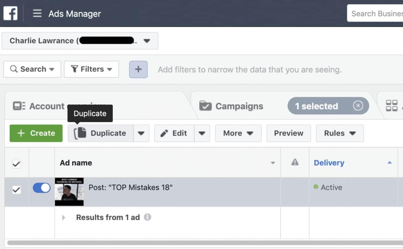 comment dupliquer une publicité sur Facebook
