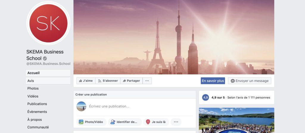 exemple d'une page Facebook avec badge gris