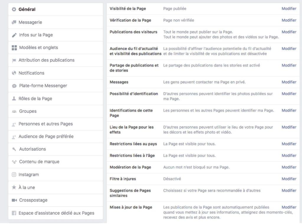 paramètres généraux page Facebook