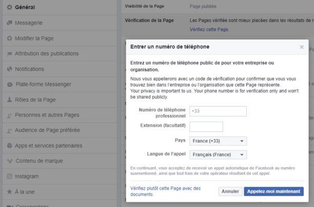 procédure de certification via telephone page Facebook