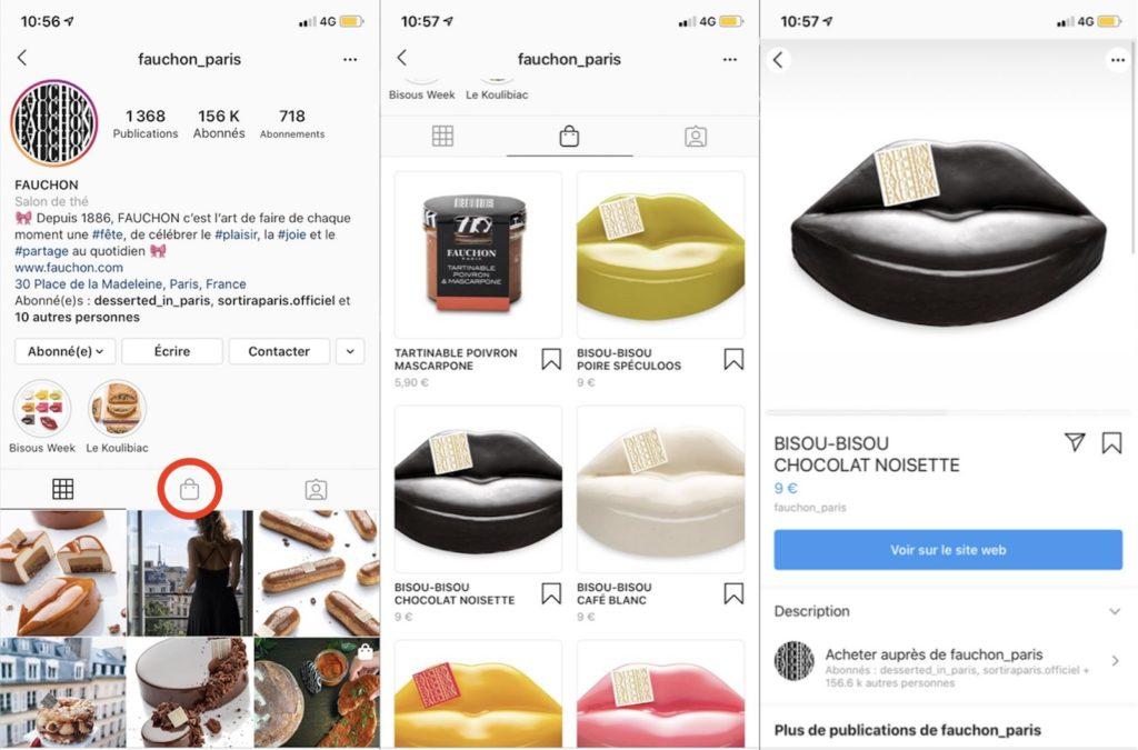 Boutique Fauchon sur Instagram via la fonctionnalité Shopping