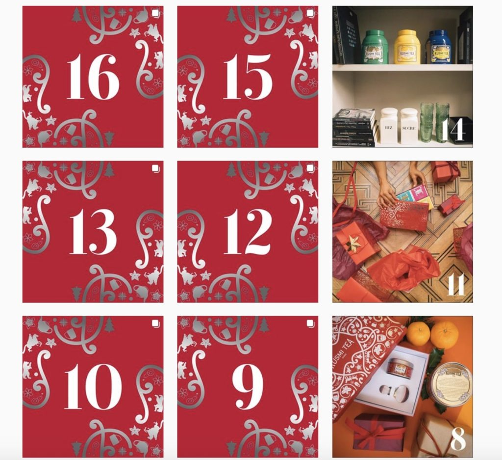 calendrier de l'avent de la marque Kusmi Tea sur Instagram