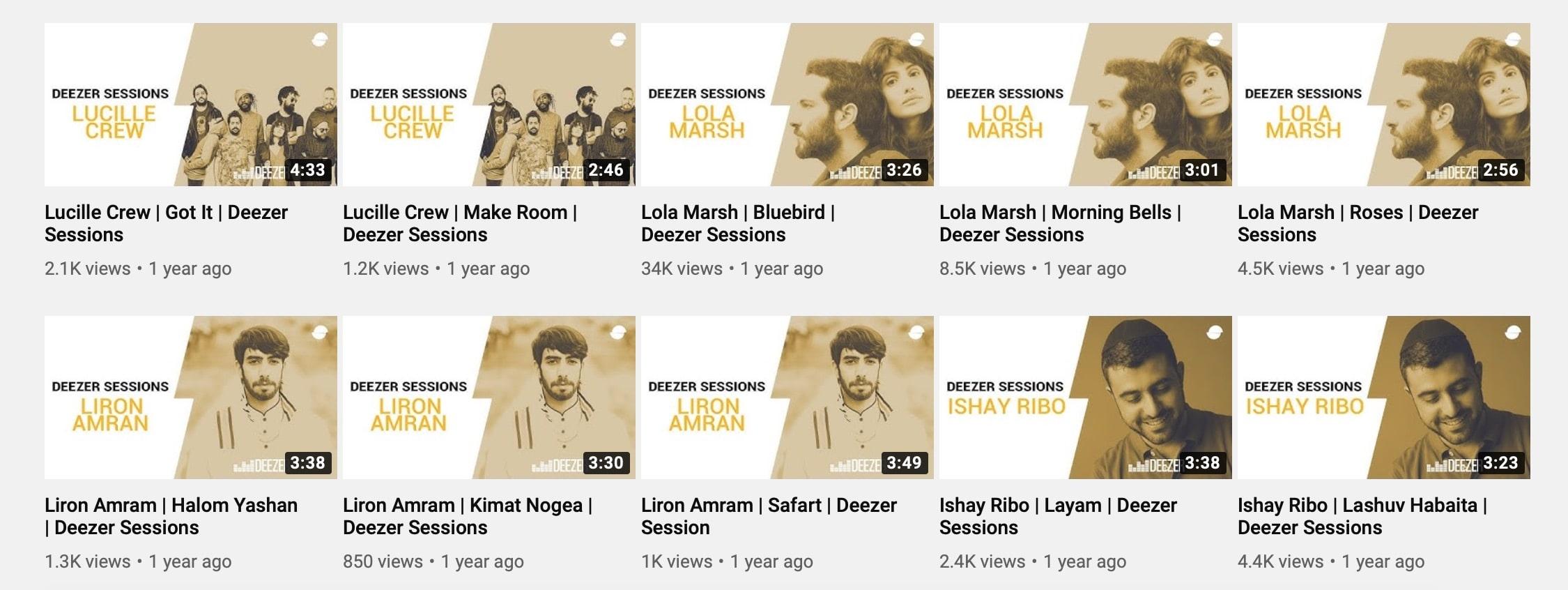 Les vignettes YouTube de Deezer.