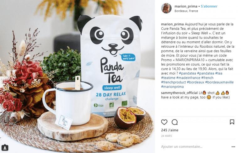 un partenariat sur instagram entre une marque panda tea et une influenceuse