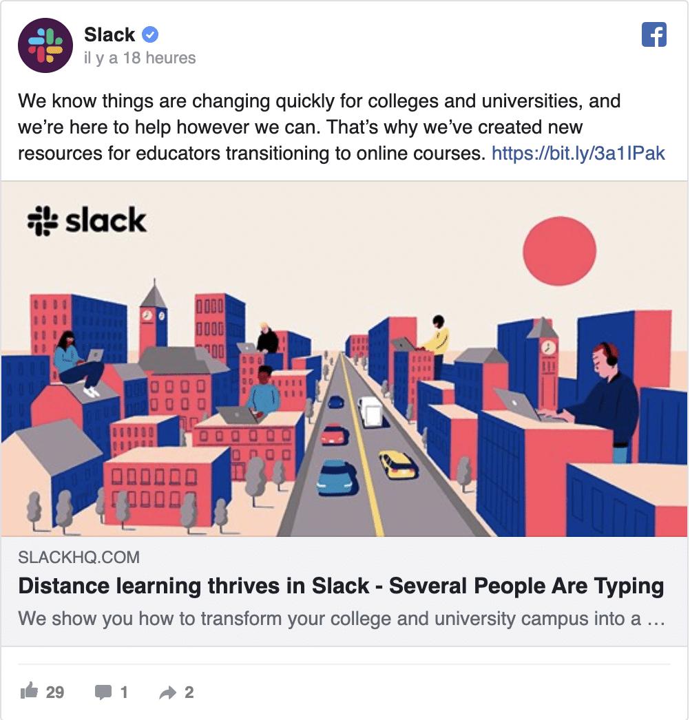 Slack met à disposition ses ressources en ligne sur les réseaux sociaux pendant le coronavirus