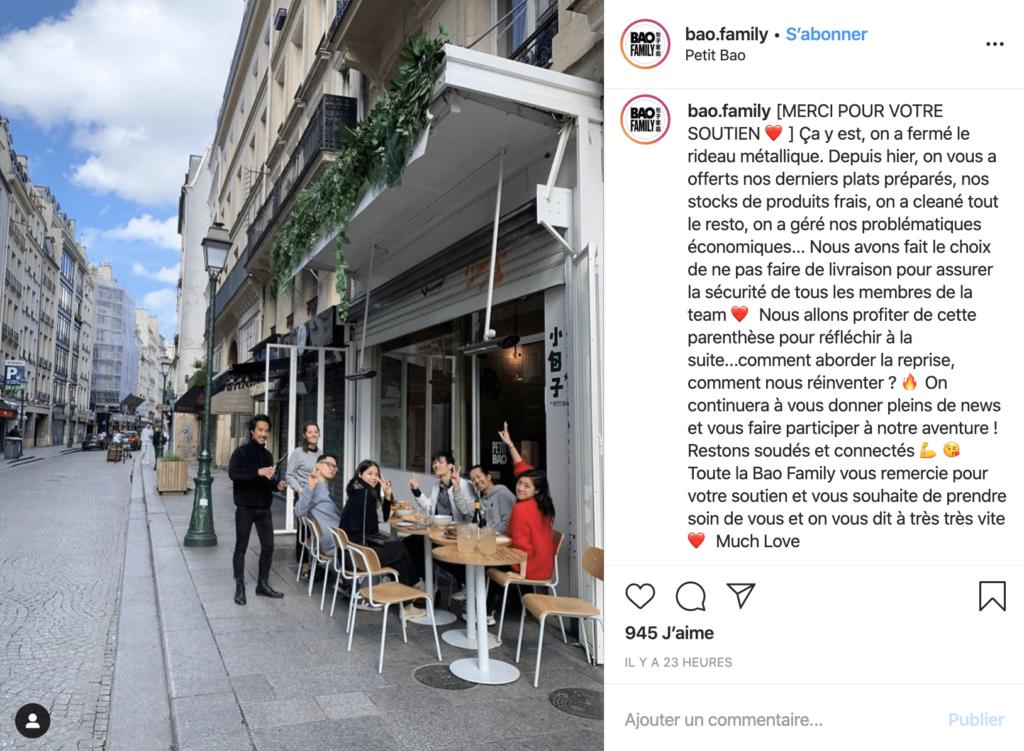 le restaurant bao annonce sa fermeture pendant le coronavirus