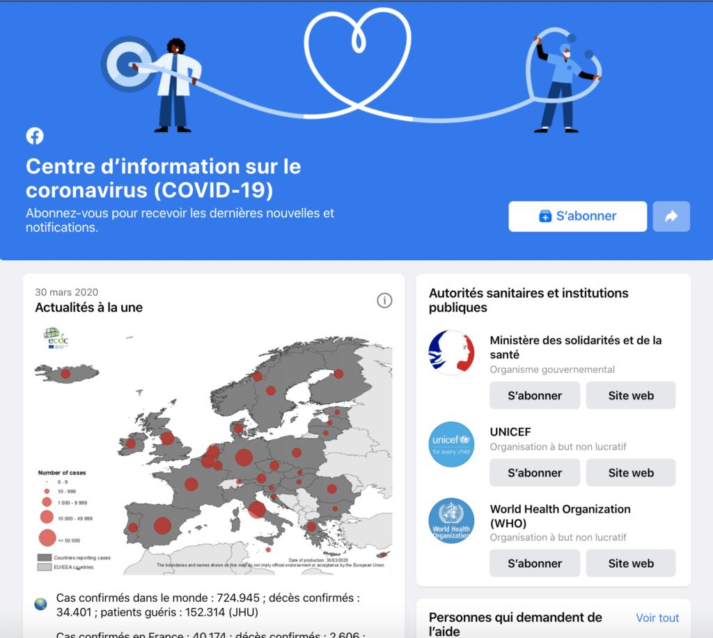 facebook met en place une page d'information sur le coronavirus