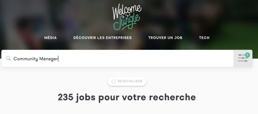 Recherche de job en tant que Community Manager sur Welcome To The Jungle