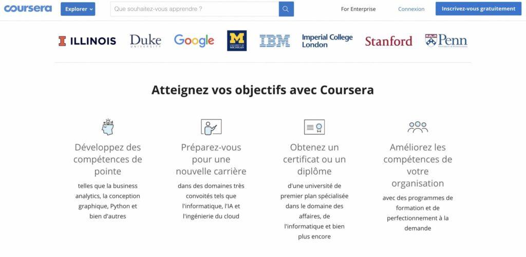 Aperçu de la plateforme Coursera