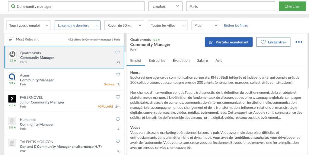 Différentes offres d'emplois comme Community Manager disponibles sur Glassdoor