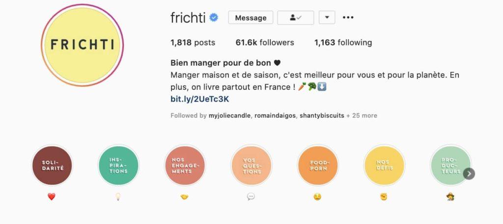 Exemple d'highlights sur Instagram