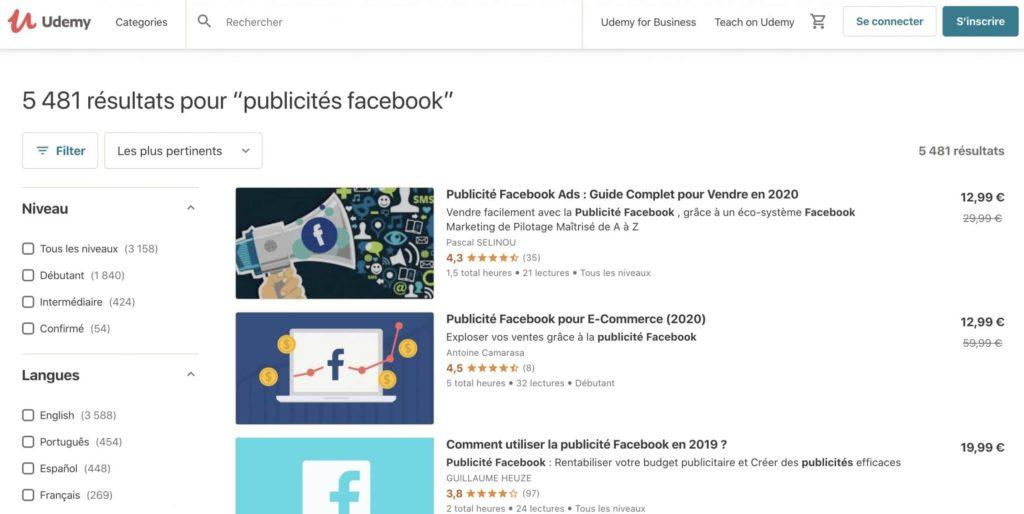 Cours sur la publicité Facebook, disponible sous Udemy