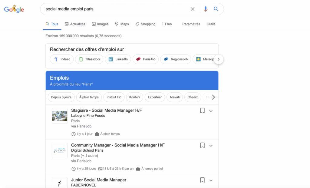recherche d'emploi social media sur Google