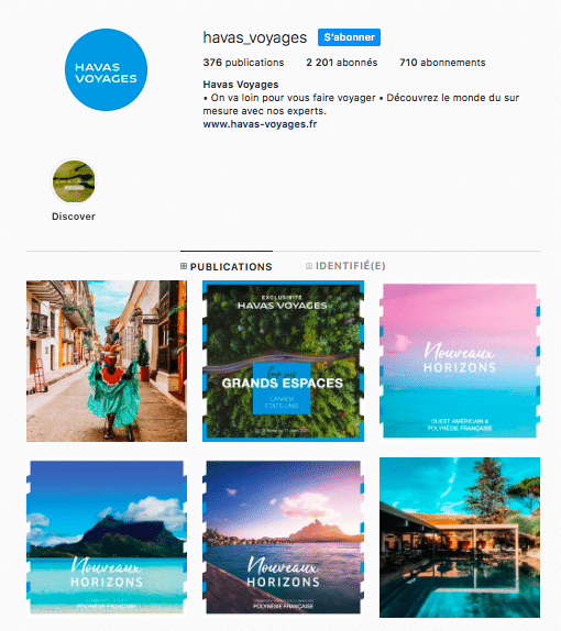 Havas voyages compte Instagram