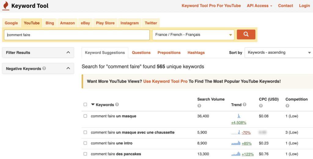 la plateforme Keywordtool.io