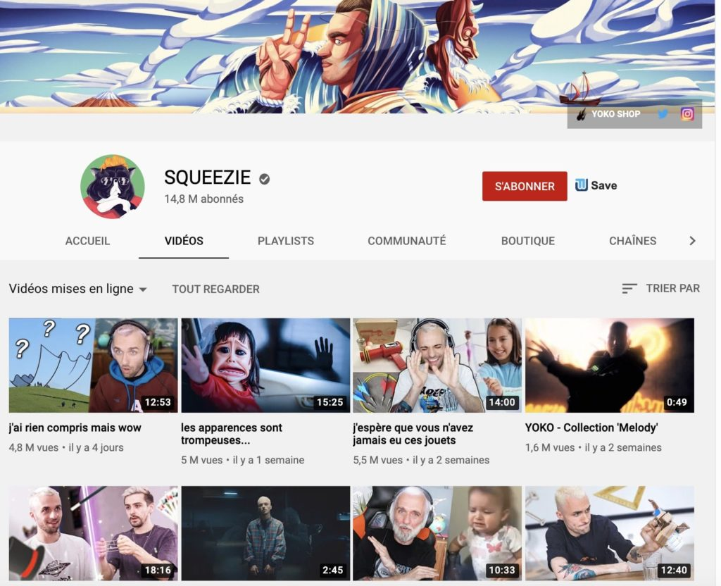 aperçu de la chaîne YouTube de Squeezie