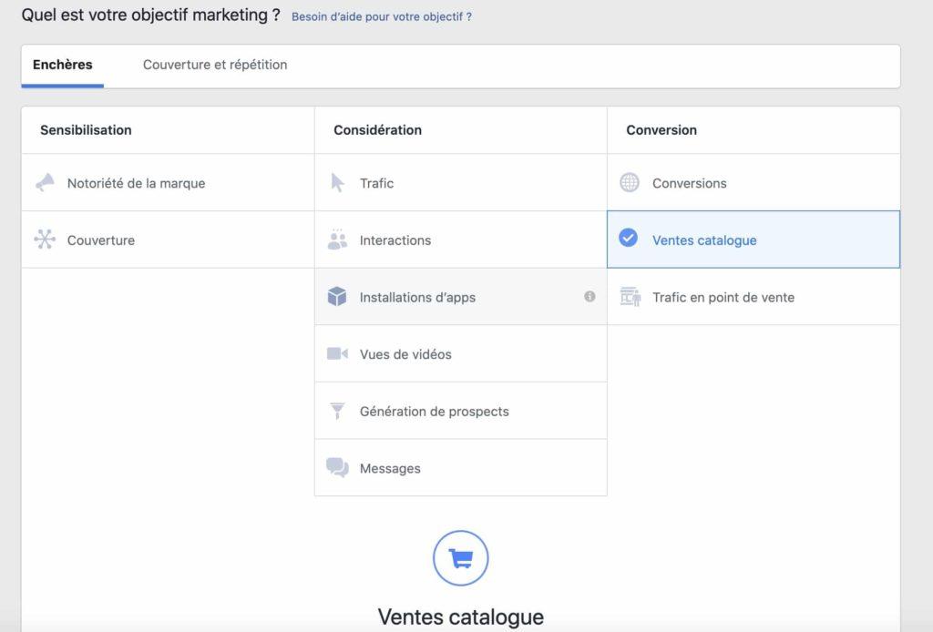 création de dynamic ads dans le business manager de facebook